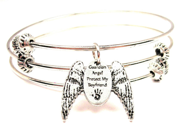 Guardian Angel Protect My Boyfriend Triple Style Expandable Bangle Bracelet