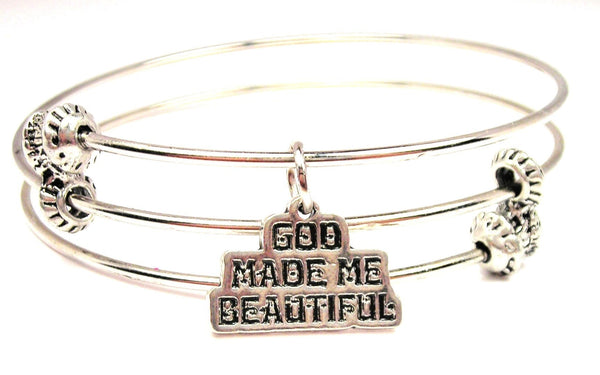 God Made Me Beautiful Triple Style Expandable Bangle Bracelet