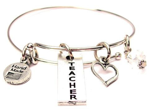 Teacher Letters Going Down Expandable Bangle Bracelet