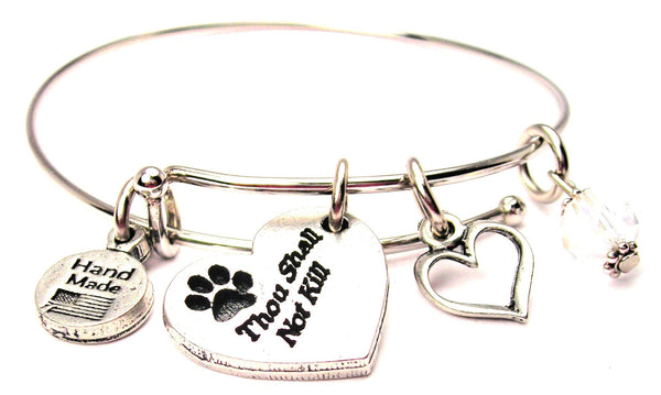 Thou Shall Not Kill With Paw Print Expandable Bangle Bracelet