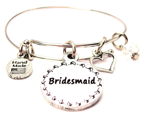 Bridesmaid Circle Expandable Bangle Bracelet