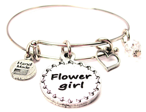 Flower Girl Circle Expandable Bangle Bracelet