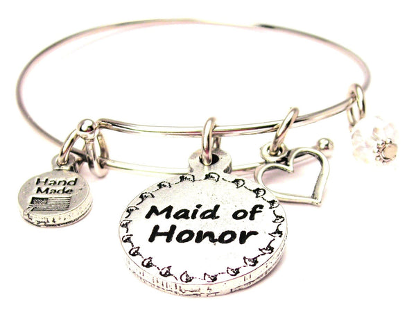 Maid Of Honor Circle Bangle Bracelet