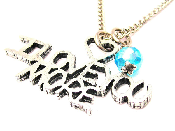 I Love You More Crystal Bead Single Charm Necklace