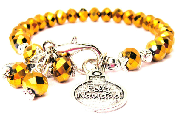 Feliz Navidad Merry Christmas Splash Of Color Crystal Bracelet