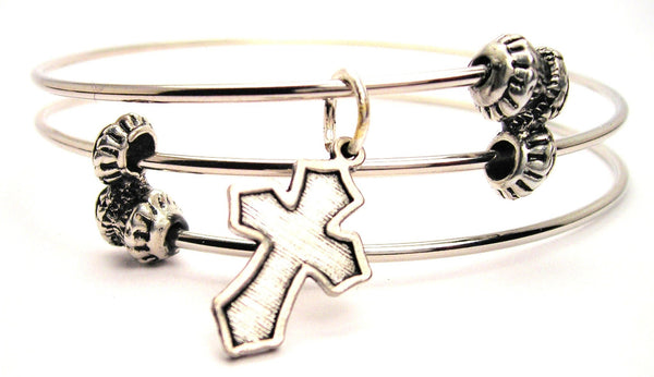 Latin Cross Triple Style Expandable Bangle Bracelet