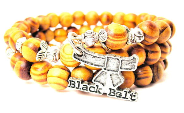 Black Belt Natural Wood Wrap Bracelet