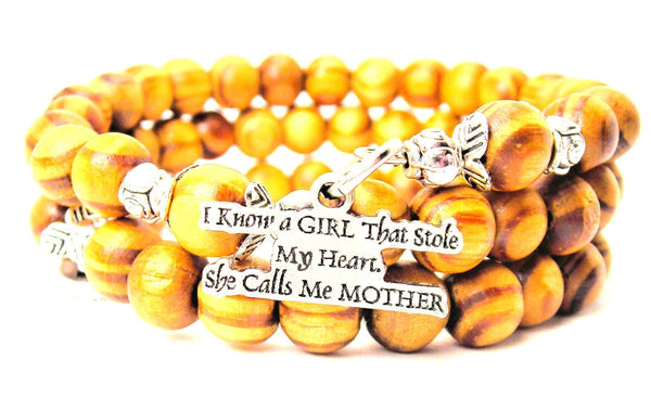 I Know A Girl That Stole My Heart. She Calls Me Mother Natural Wood Wrap Bracelet