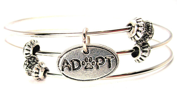 Adopt With Center Paw Triple Style Expandable Bangle Bracelet