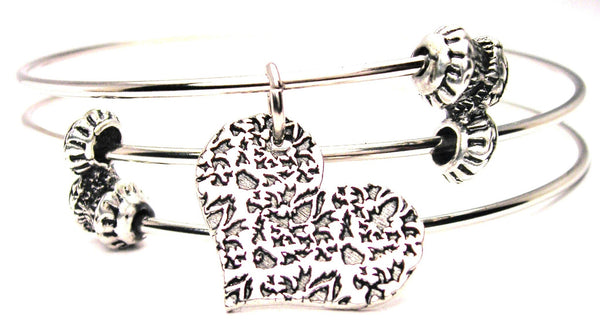 Damask Heart Triple Style Expandable Bangle Bracelet