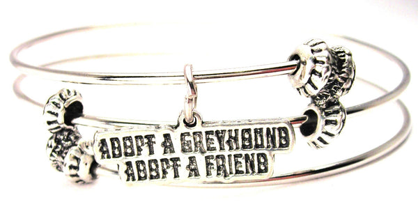 Adopt A Greyhound Adopt A Friend Triple Style Expandable Bangle Bracelet