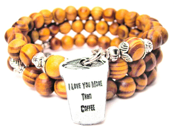 I Love You More Than Coffee Natural Wood Wrap Bracelet