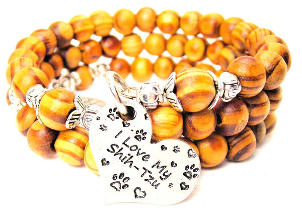 I Love My Shih-Tzu Natural Wood Wrap Bracelet