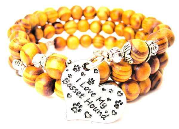 I Love My Basset Hound Natural Wood Wrap Bracelet