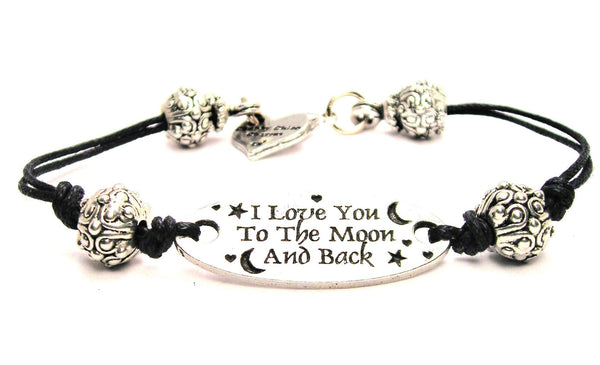 I Love You To The Moon And Back Pewter Plate Black Cord Bracelet
