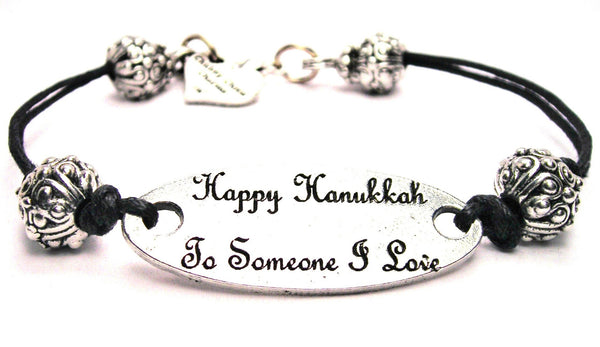 Happy Hanukkah To Someone I Love Pewter Plate Black Cord Bracelet