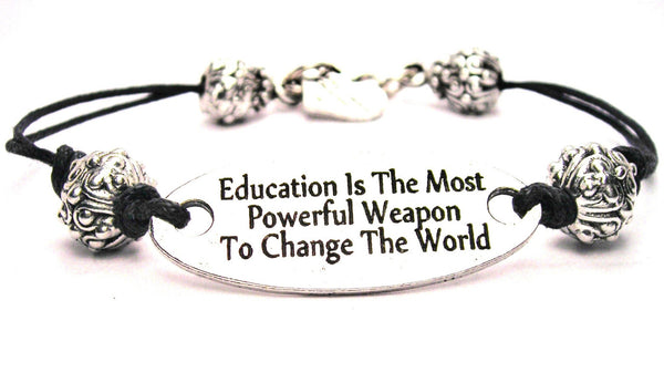 Education Is The Most Powerful Weapon To Change The World Pewter Plate Black Cord Bracelet