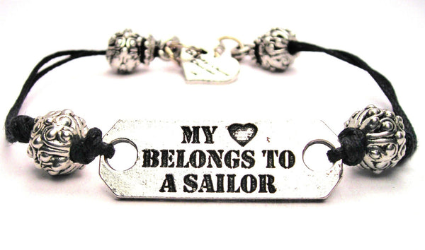 My Heart Belongs To A Sailor Pewter Plate Black Cord Bracelet