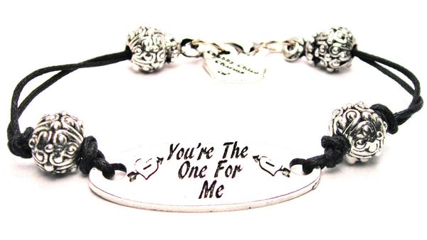 Your The One For Me Pewter Plate Black Cord Bracelet