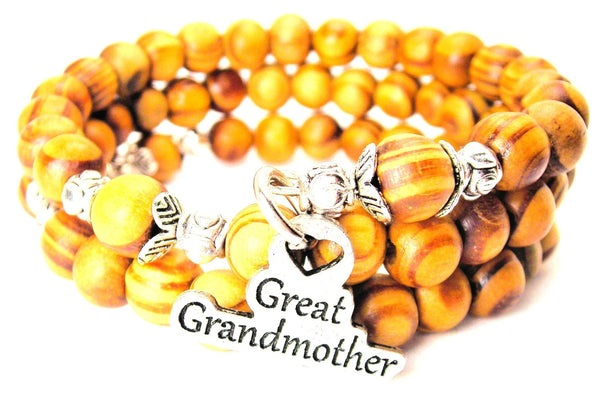 Great Grandmother Natural Wood Wrap Bracelet