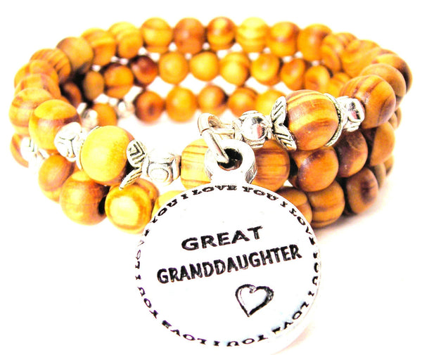 Great Granddaughter Natural Wood Wrap Bracelet