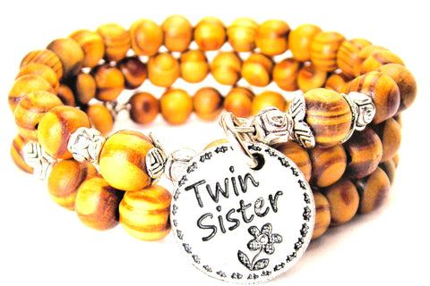 Twin Sister Natural Wood Wrap Bracelet