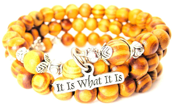It Is What It Is Natural Wood Wrap Bracelet