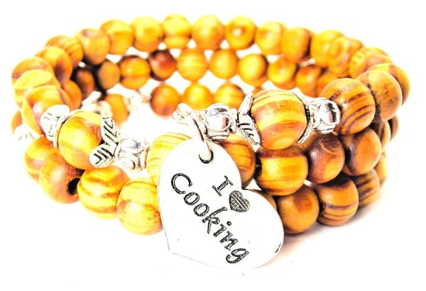 I Love Cooking Natural Wood Wrap Bracelet