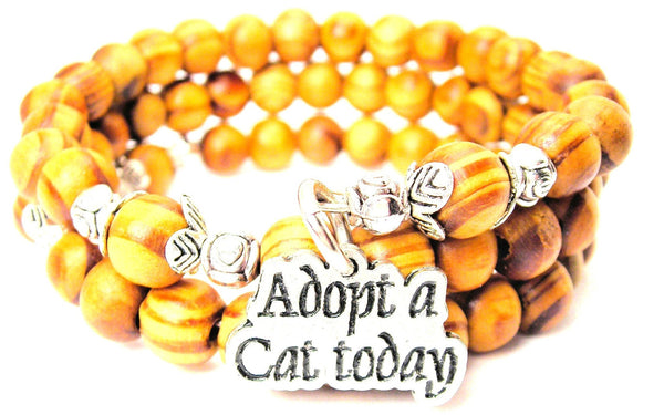 Adopt A Cat Today Natural Wood Wrap Bracelet