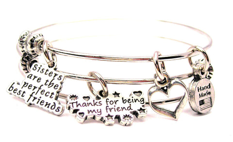 Sisters Are The Perfect Best Friends Thanks For Being My Friend Triple Style Expandable Bangle Bracelet