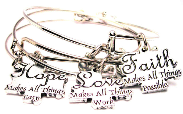 3 Piece Hope Love Faith Trio Expandable Bangle Bracelet Set