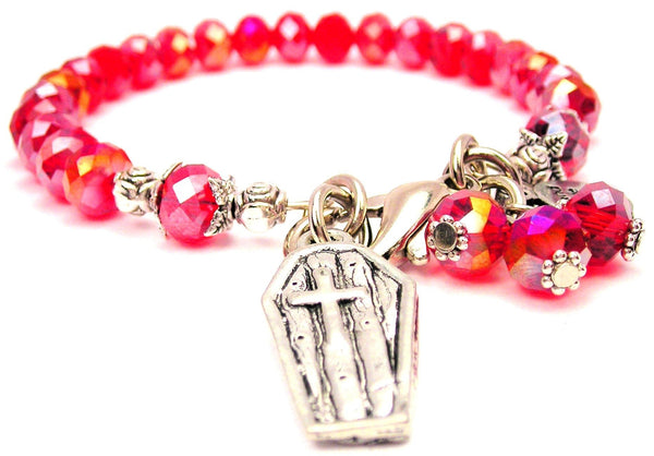 Coffin With Cross Splash Of Color Crystal Bracelet