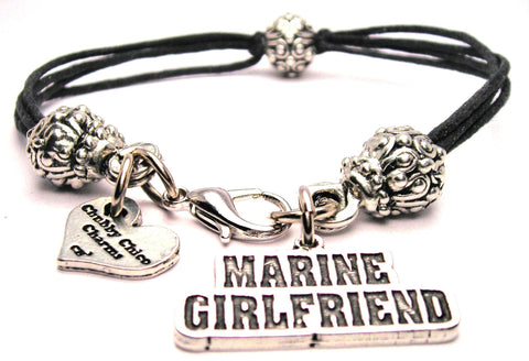 Marine Girlfriend Beaded Black Cord Bracelet