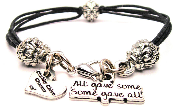All Gave Some And Some Gave All Beaded Black Cord Bracelet