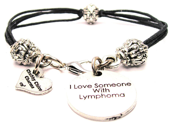 I Love Someone With Lymphoma Beaded Black Cord Bracelet