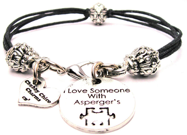 I Love Someone With Aspergers Beaded Black Cord Bracelet