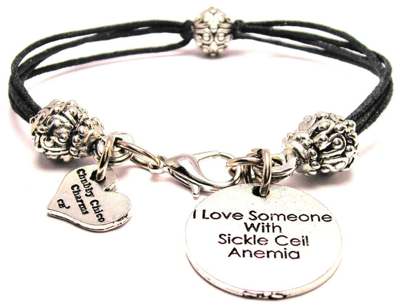 I Love Someone With Sickle Cell Anemia Beaded Black Cord Bracelet