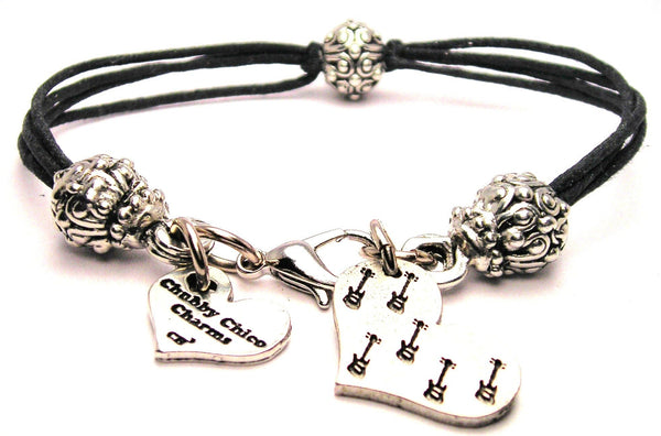 Guitars In Your Heart Beaded Black Cord Bracelet