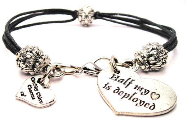 Half My Heart Is Deployed Beaded Black Cord Bracelet