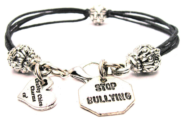 Stop Bullying Beaded Black Cord Bracelet