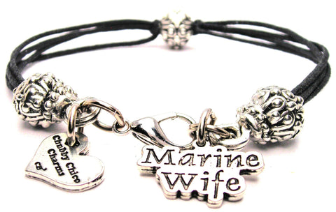 Marine Wife Beaded Black Cord Bracelet
