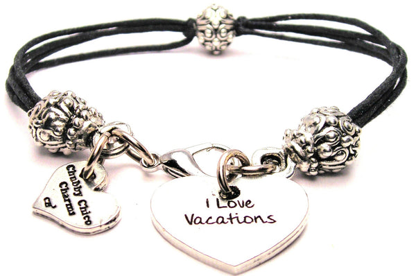 I Love Vacations Beaded Black Cord Bracelet