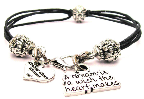A Dream Is A Wish The Heart Makes Beaded Black Cord Bracelet