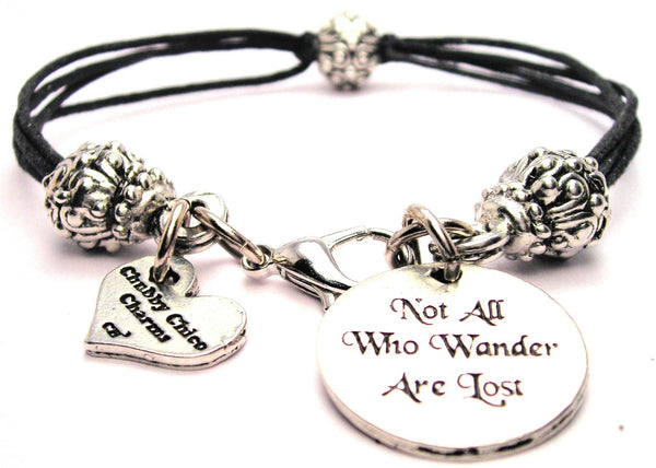Not All Who Wander Are Lost Beaded Black Cord Bracelet