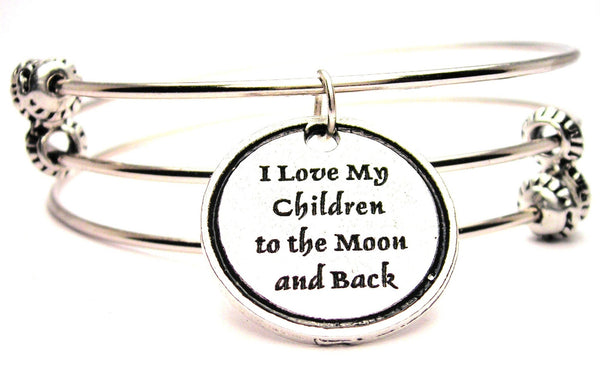 I Love My Children To The Moon And Back Triple Style Expandable Bangle Bracelet