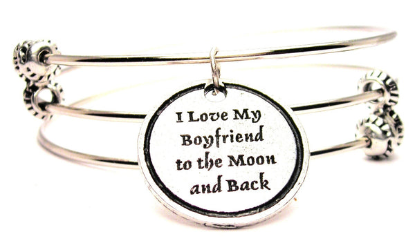 I Love My Boyfriend To The Moon And Back Triple Style Expandable Bangle Bracelet
