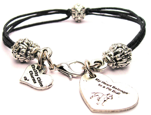 My Heart Belongs To A Pit Bull Beaded Black Cord Bracelet