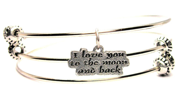 I Love You To The Moon And Back Triple Style Expandable Bangle Bracelet