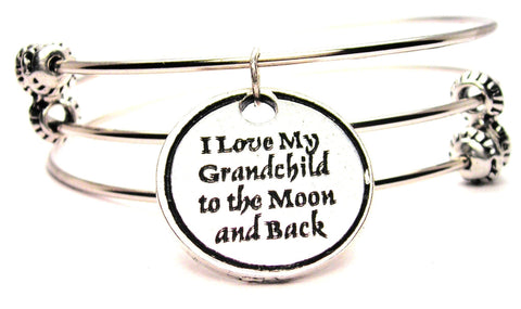 I Love My Grandchild To The Moon And Back Triple Style Expandable Bangle Bracelet