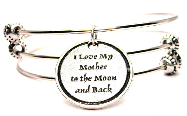 I Love My Mother To The Moon And Back Triple Style Expandable Bangle Bracelet